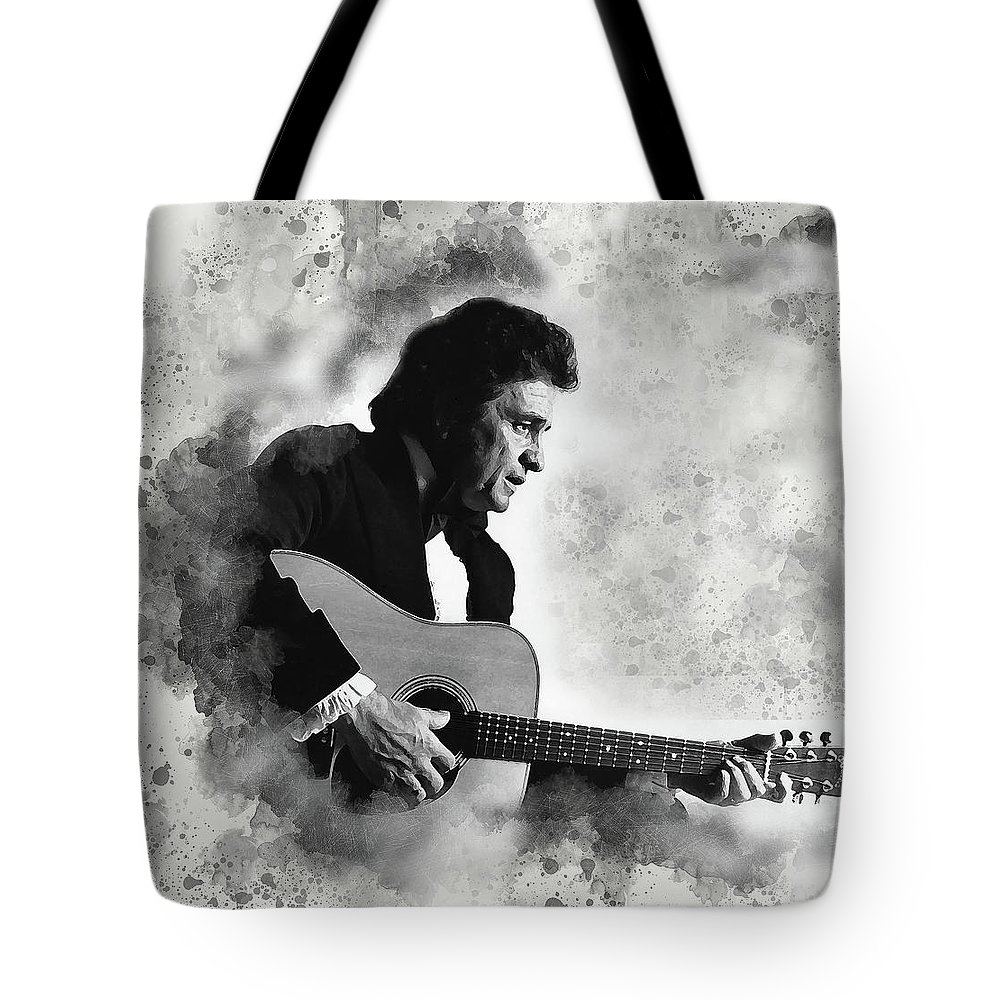 Johnny Cash Tote Bag featuring the digital art Johnny Cash by Karl Knox Images