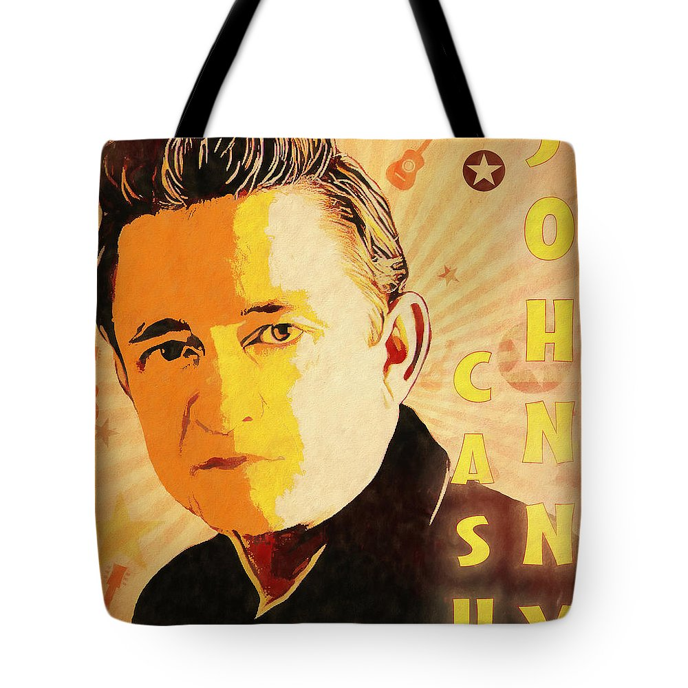 Cash Pop Art Poster Tote Bag featuring the mixed media Johnny Cash Poster by Dan Sproul