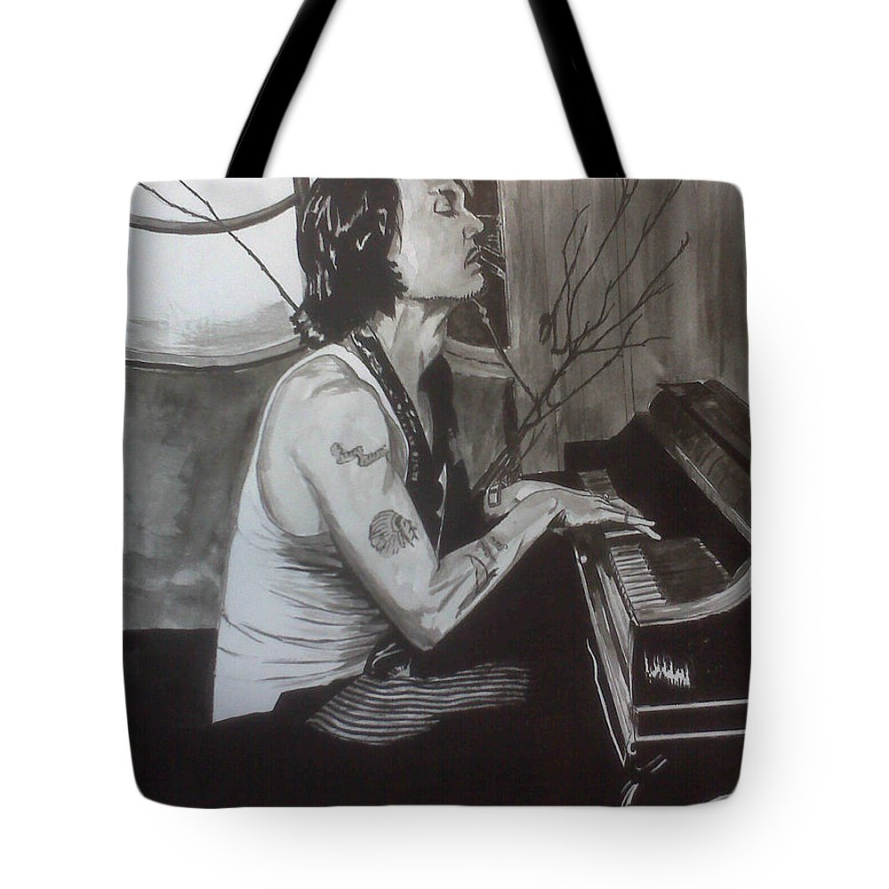 Justin Moore Tote Bag featuring the painting Johnny Depp 1 by Justin Moore