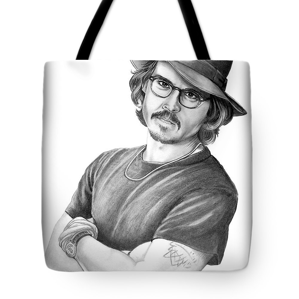 Johnny Depp Tote Bag featuring the drawing Johnny Depp by Murphy Elliott