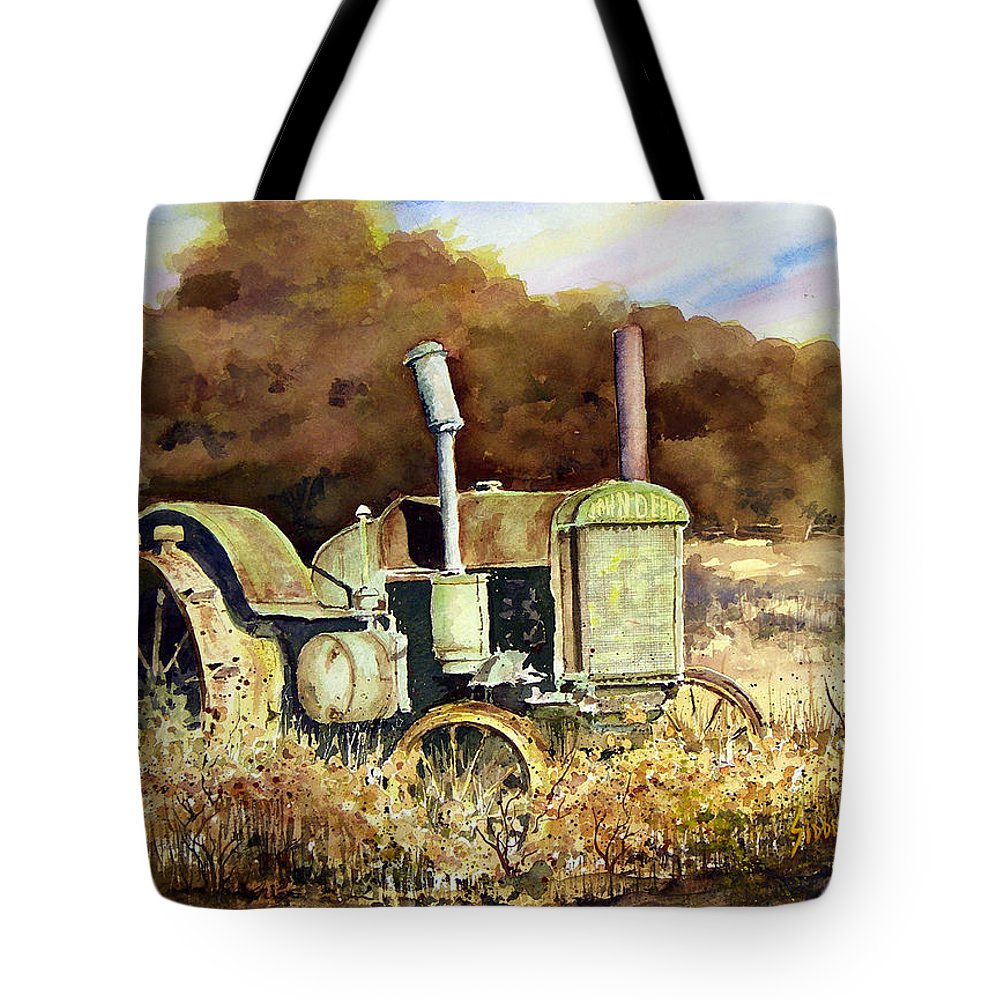 Tractor Tote Bag featuring the painting Johnny Popper by Sam Sidders