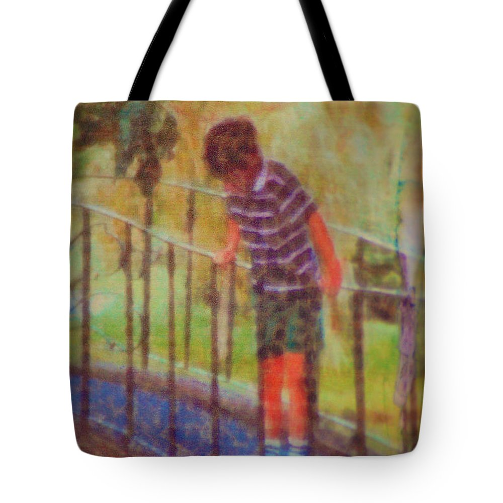 Boy Tote Bag featuring the photograph John's Reflection by Donna Bentley