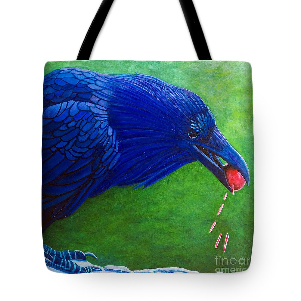 Raven Tote Bag featuring the painting Joie De Vivre by Brian Commerford