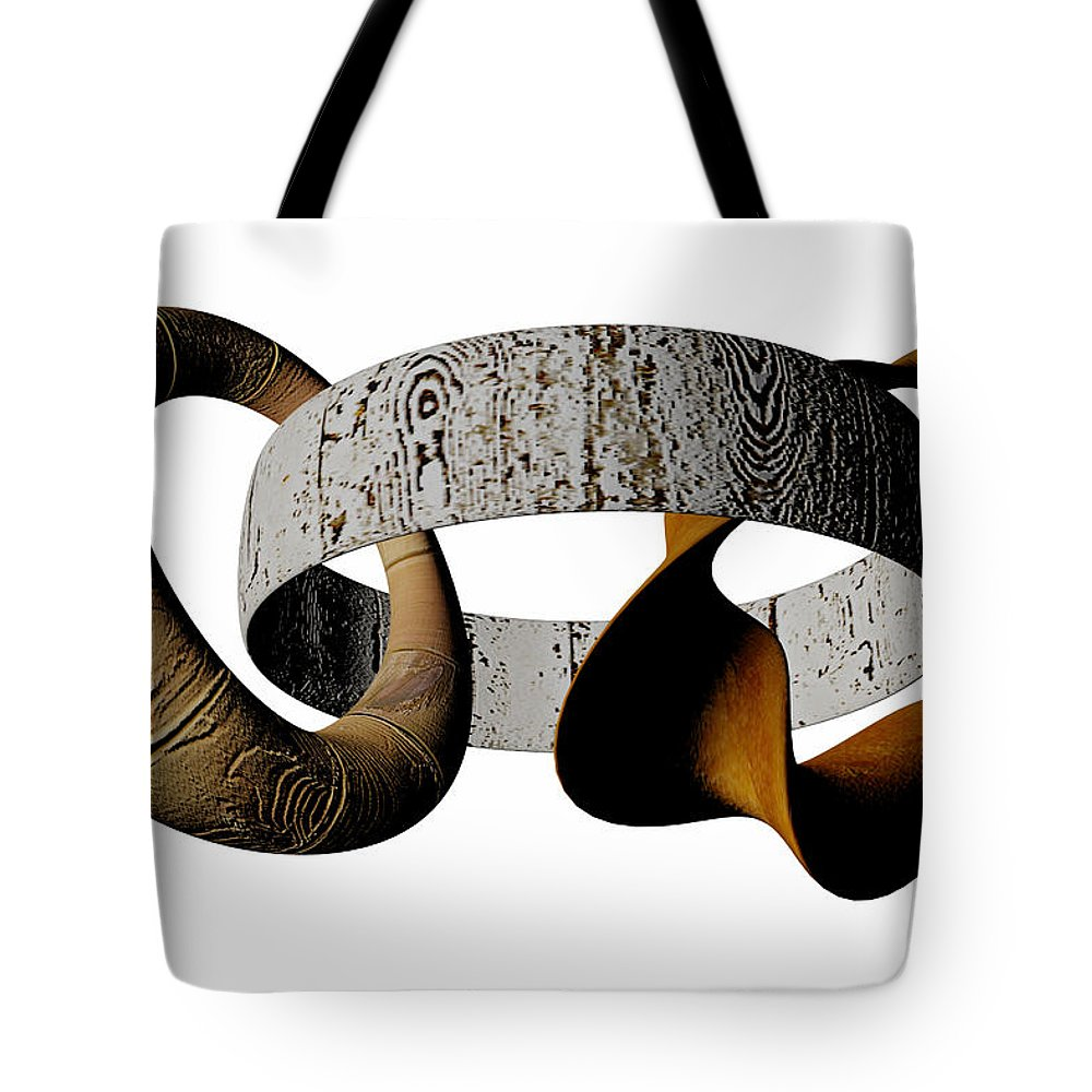 Circle Tote Bag featuring the digital art Join Circles by R Muirhead Art
