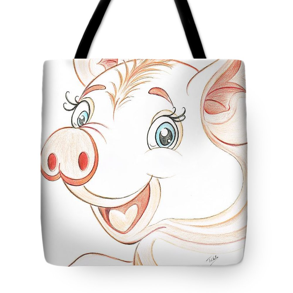 Teresa White Tote Bag featuring the drawing Jolly Miss Piggy by Teresa White