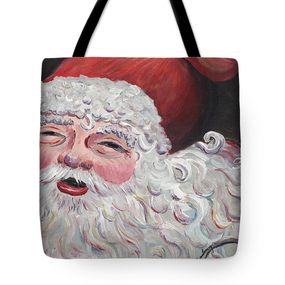 Santa Tote Bag featuring the painting Jolly Santa by Nadine Rippelmeyer