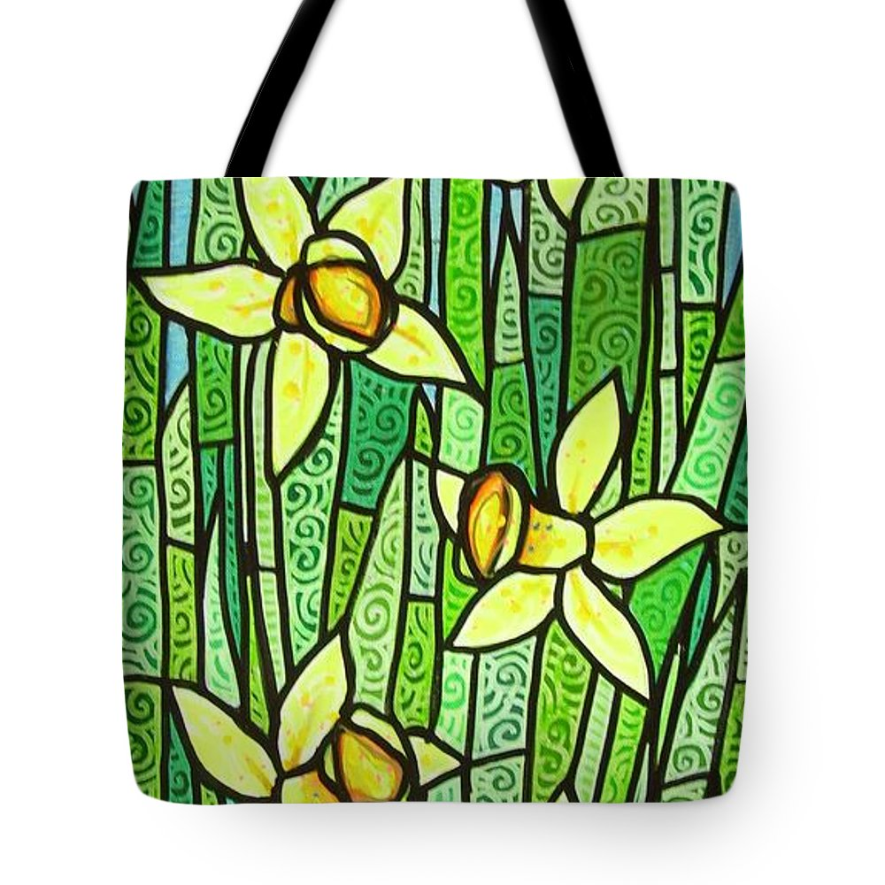 Jonquils Tote Bag featuring the painting Jonquil Glory by Jim Harris