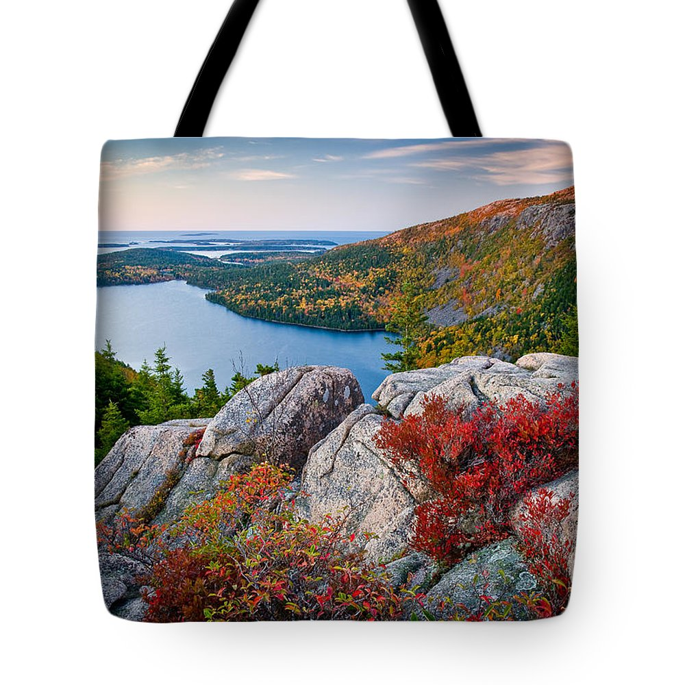 Acadia National Park Tote Bag featuring the photograph Jordan Pond Sunrise by Susan Cole Kelly