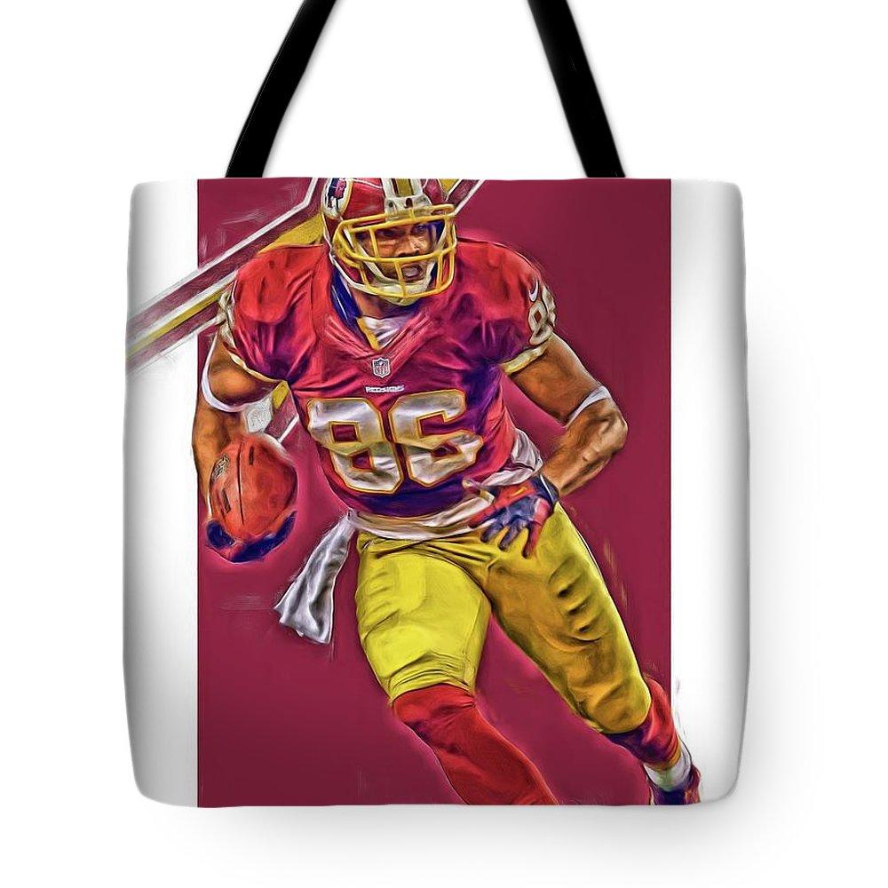 Jordan Reed Tote Bag featuring the mixed media Jordan Reed Washington  Redskins Oil Art by Joe 8810fbd0a