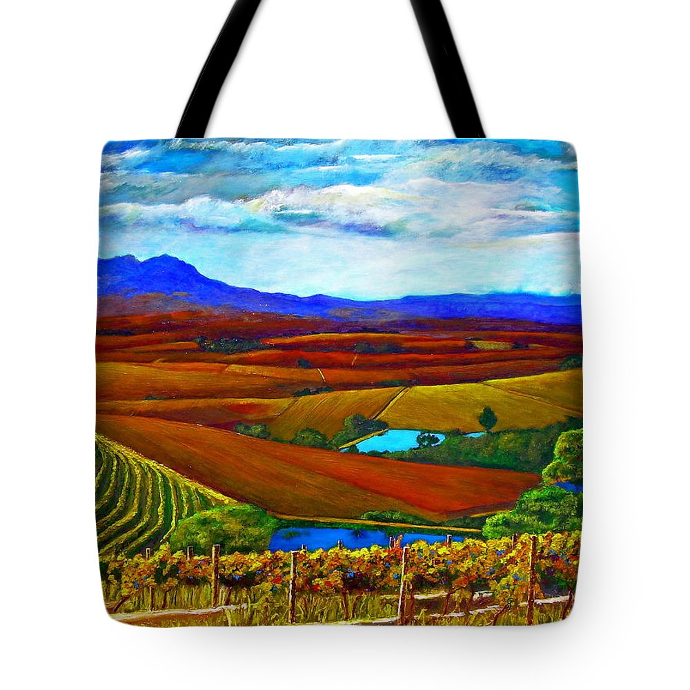 Vineyard Tote Bag featuring the painting Jordan Vineyard by Michael Durst