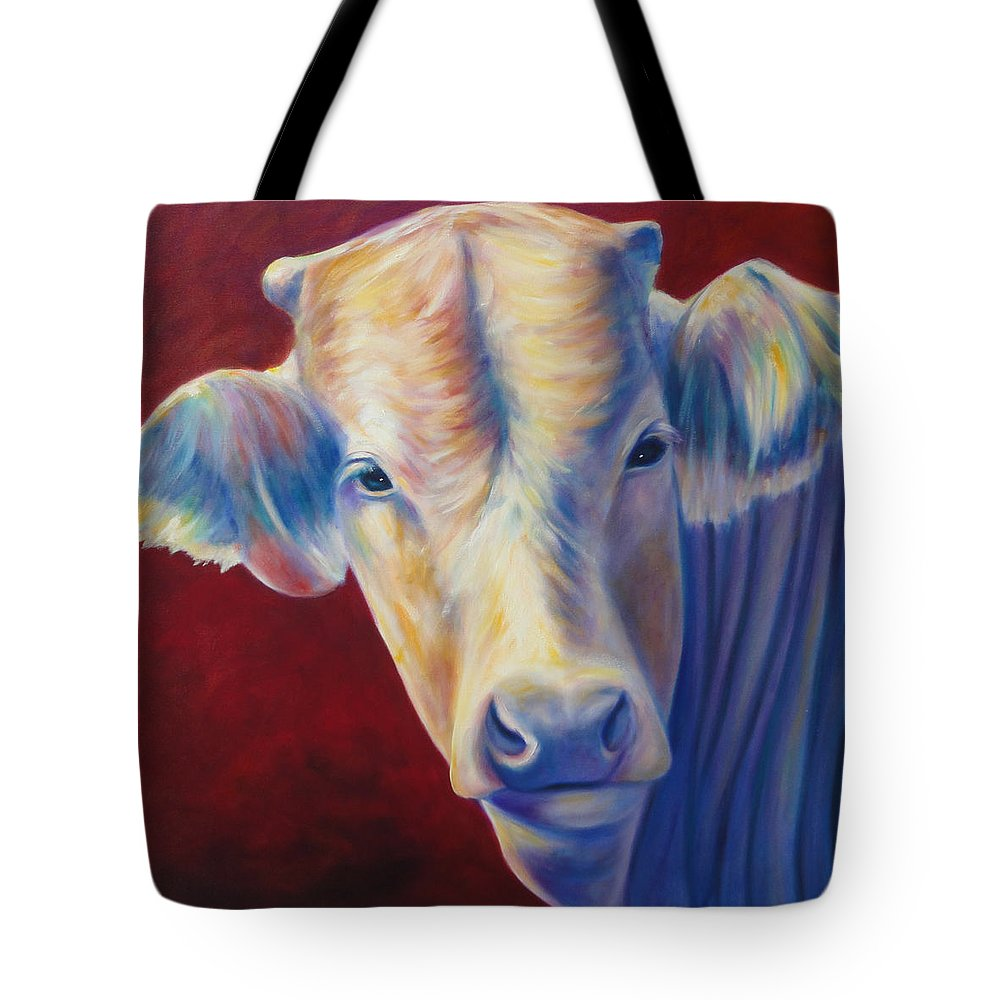 Bull Tote Bag featuring the painting Jorge by Shannon Grissom