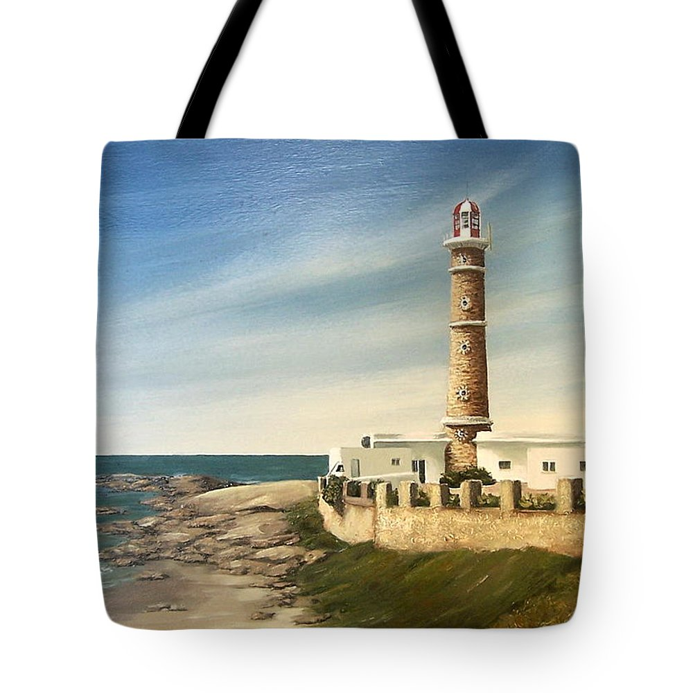 Landscape Seascape Lighthouse Uruguay Beach Sea Water Tote Bag featuring the painting Jose Ignacio Lighthouse Evening by Natalia Tejera