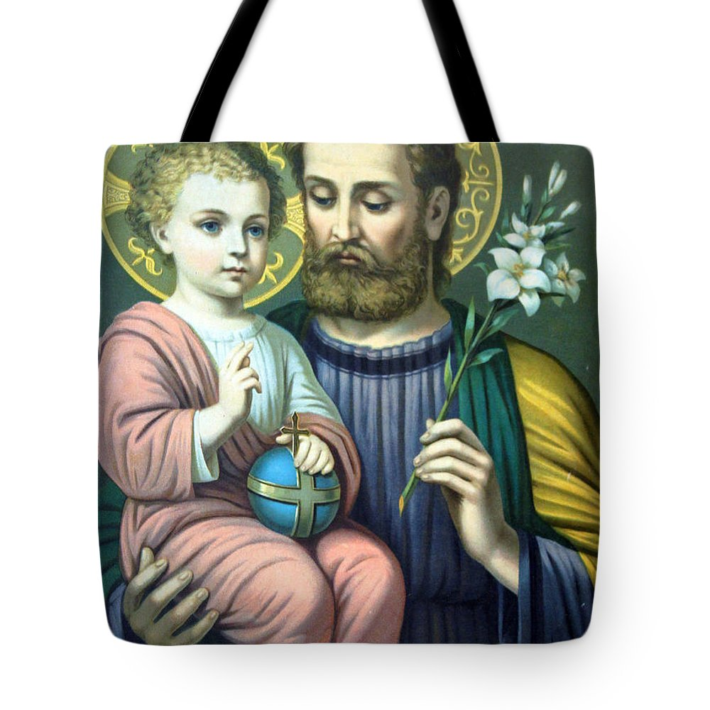 Christians Tote Bag featuring the painting Joseph And Baby Jesus by Munir Alawi