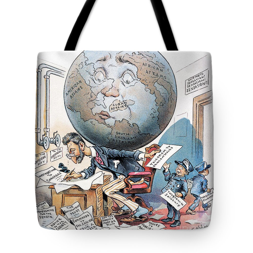 1896 Tote Bag featuring the photograph Joseph Pulitzer Cartoon by Granger
