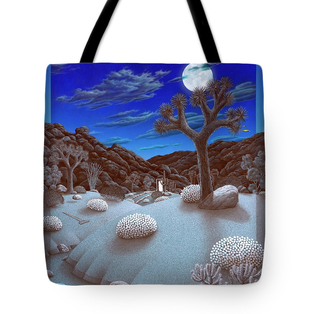 Landscape Tote Bag featuring the painting Joshua Tree At Night by Snake Jagger