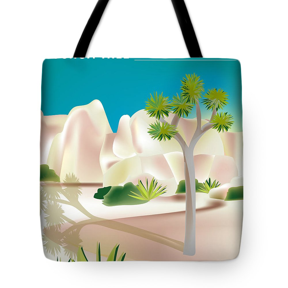 Joshua Tree National Park Tote Bag featuring the digital art Joshua Tree National Park Vertical Scene by Karen Young