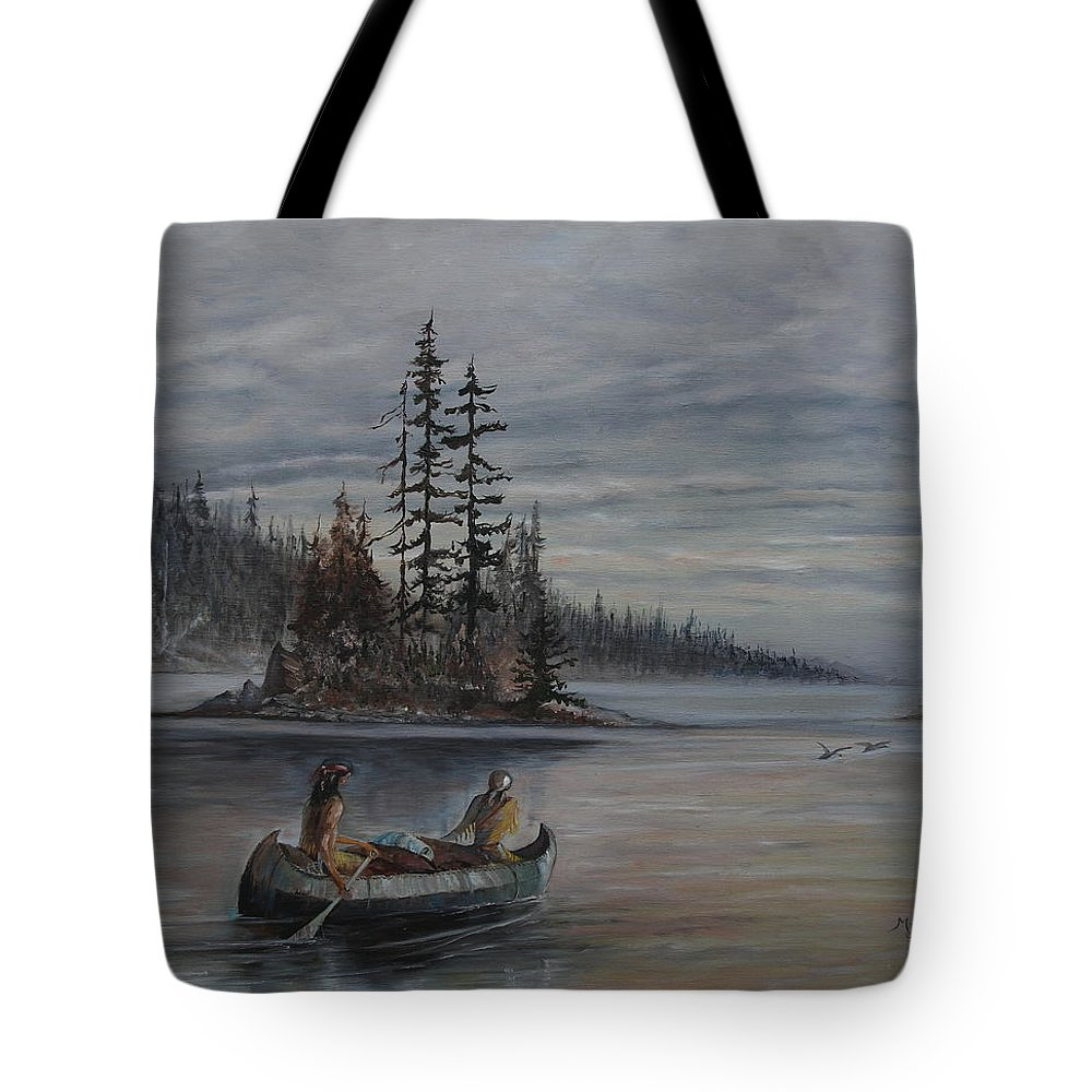 First Nation Tote Bag featuring the painting Journey - Lmj by Ruth Kamenev