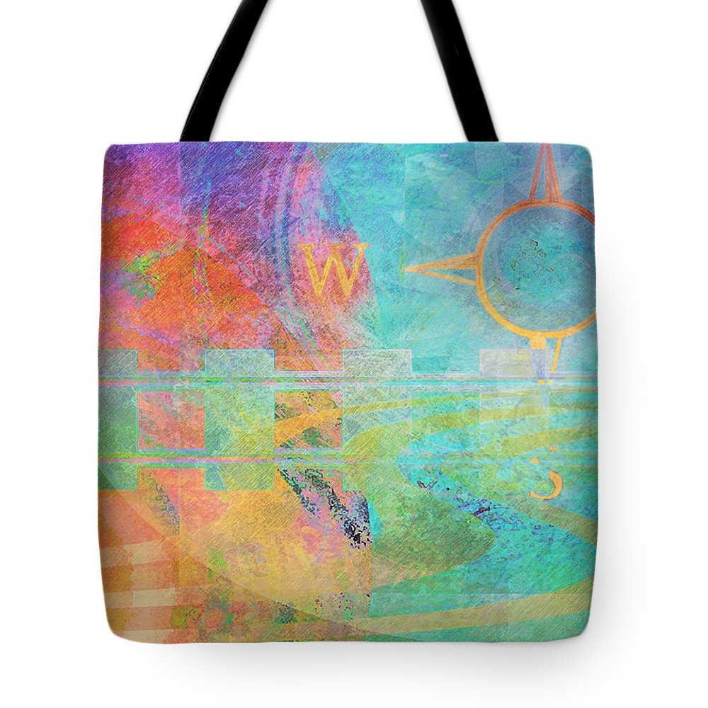 Travel Tourism Colorful Watercolor Train Tracks Compass Highways Travellers Tourists Event Specialists Weather Harmony Sky Land Motion Energy Color Abstract Business Professional Contemporary Chic Cool Warm Transportation Tains Automobiles Places Travels Water Artwork Tote Bag featuring the painting Journeys by Faye Cummings
