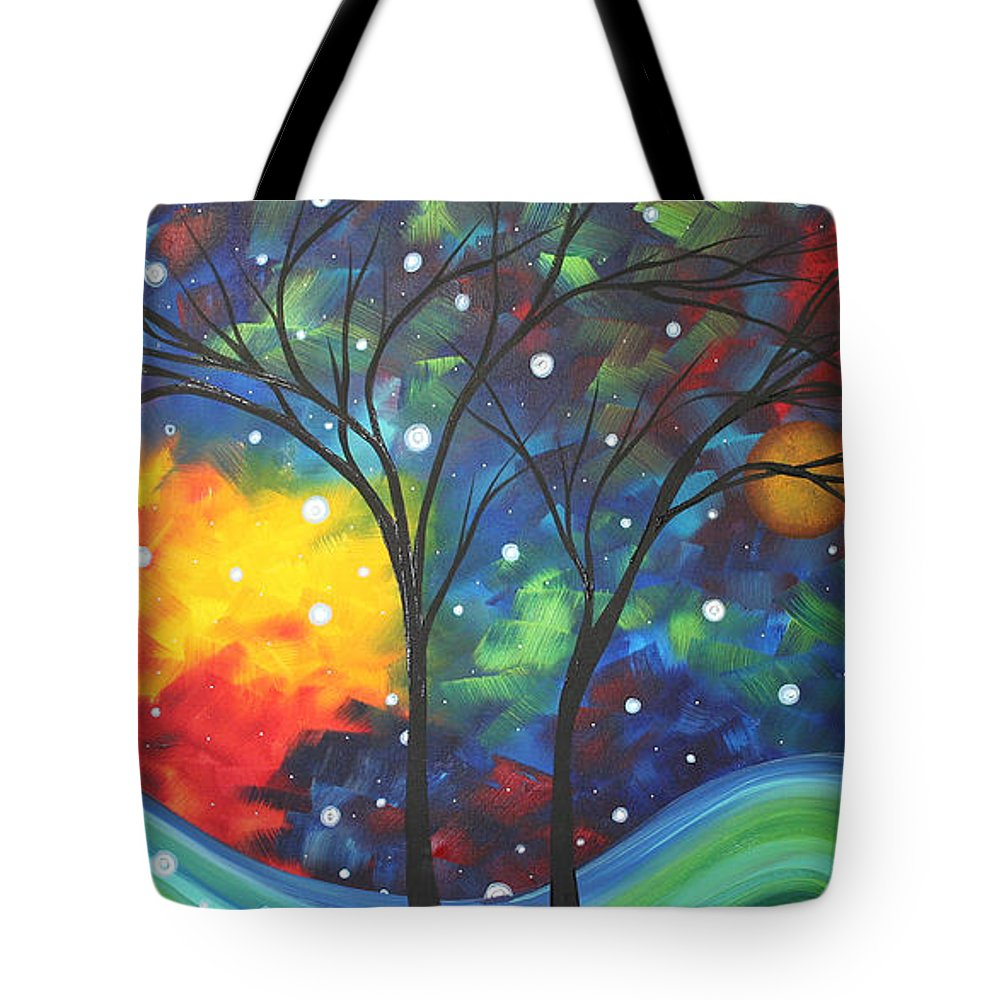 Abstract Tote Bag featuring the painting Joy By Madart by Megan Duncanson