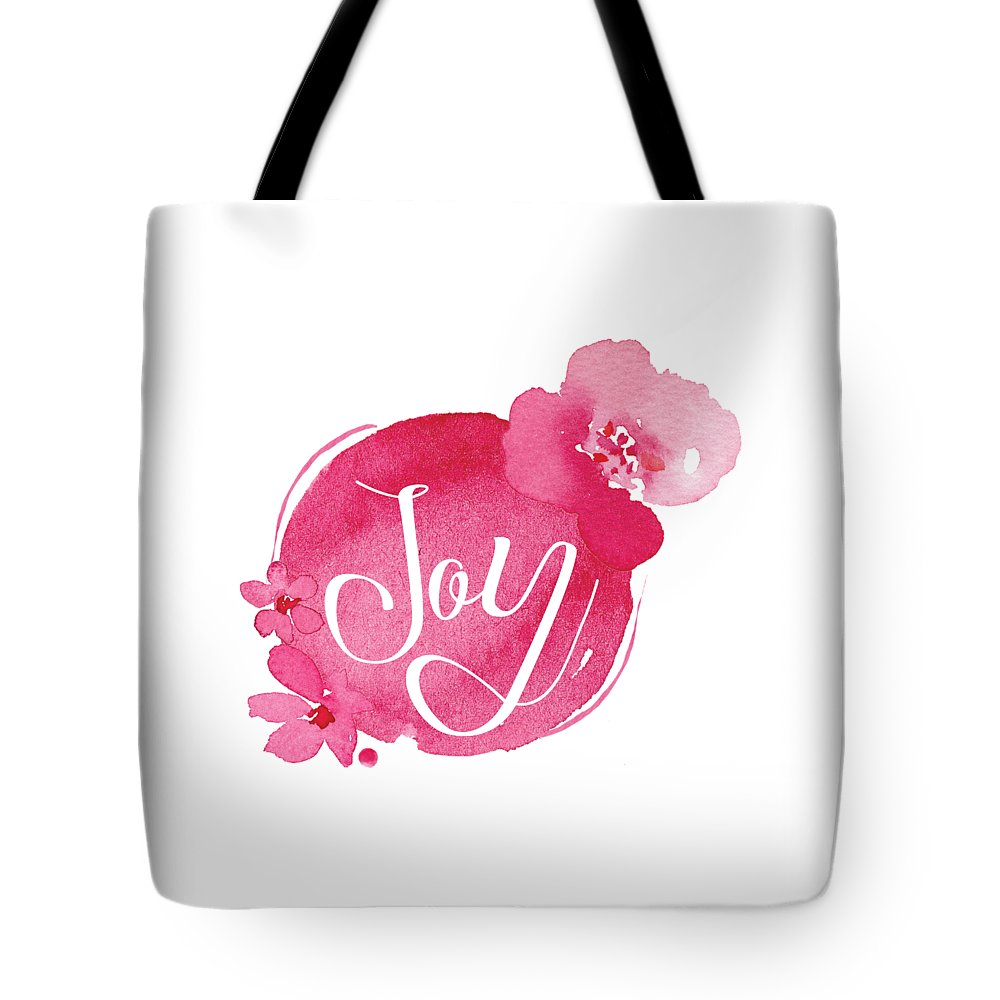 One Little Word Tote Bag featuring the mixed media Joy by Nancy Ingersoll