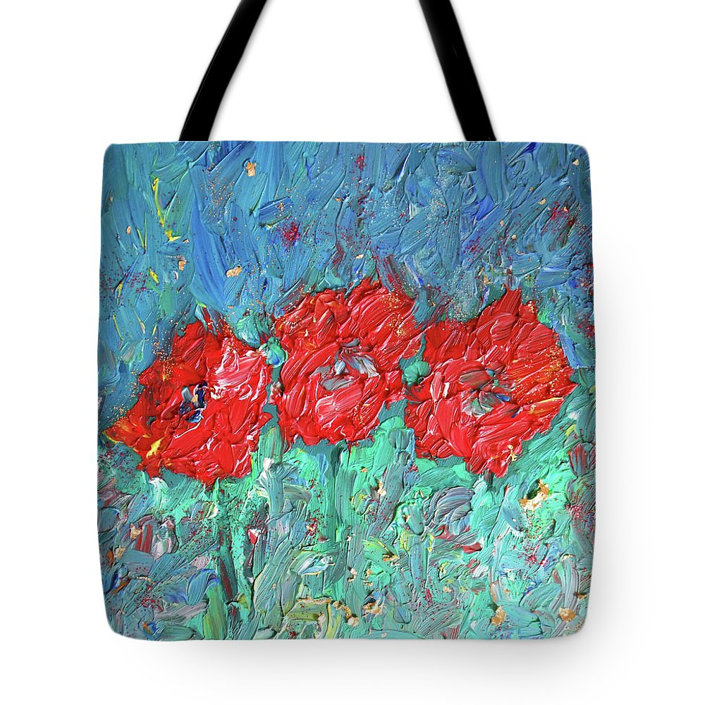 Poppy Tote Bag featuring the painting Joy Of Poppies by Maja Smid