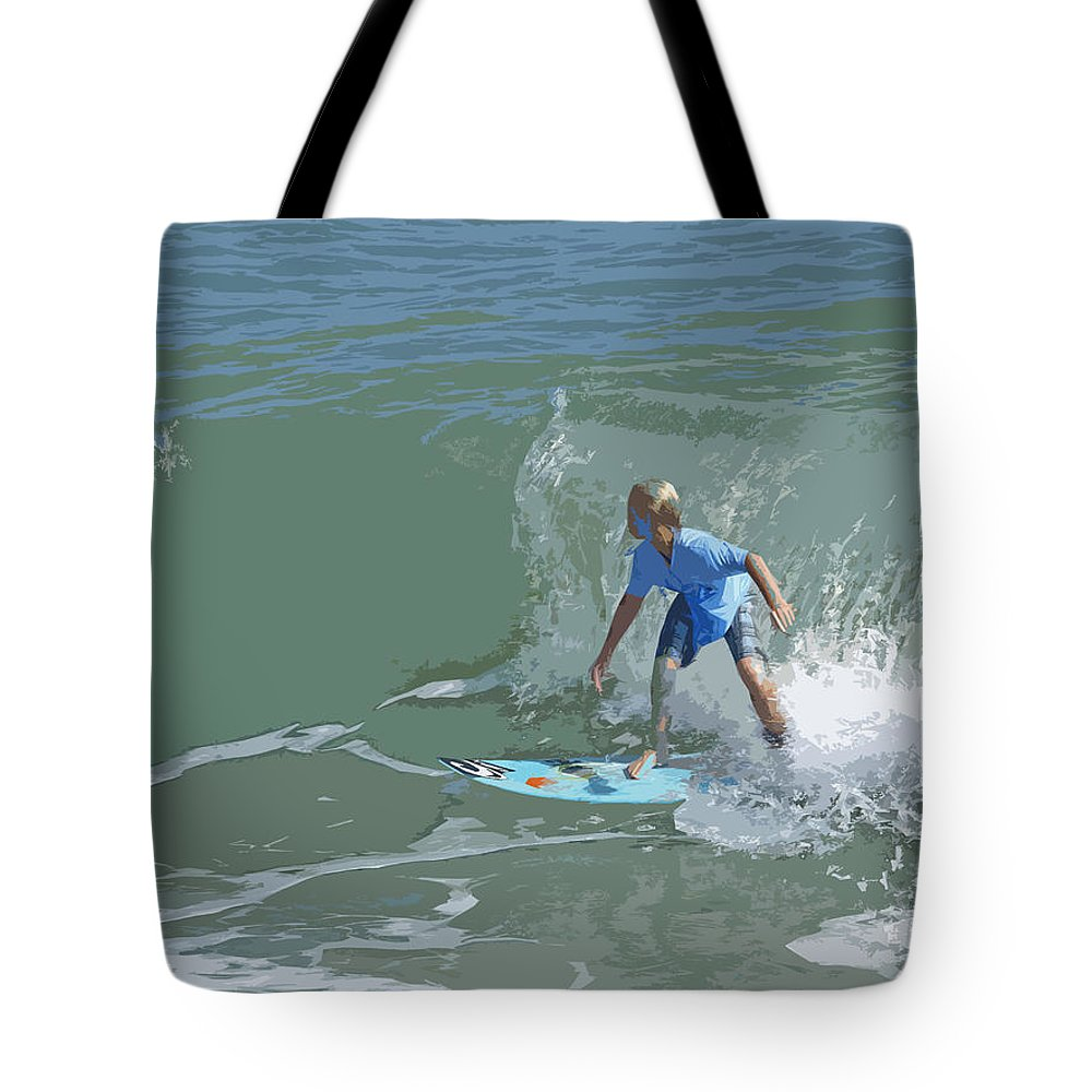 Surf Tote Bag featuring the painting Joy Of Surfing - Four by Allan Hughes