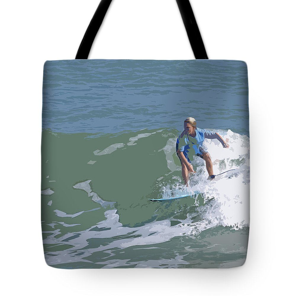 Surf Tote Bag featuring the painting Joy Of Surfing - Three by Allan Hughes