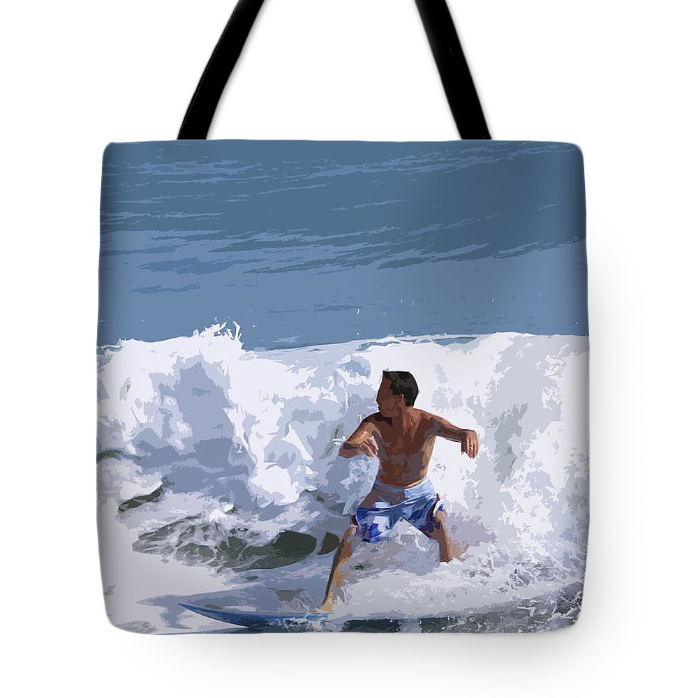Surf Tote Bag featuring the painting Joy Of Surfing - Two by Allan Hughes