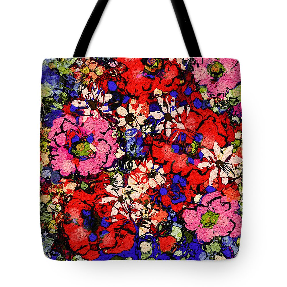Floral Abstract Tote Bag featuring the painting Joyful Flowers by Natalie Holland