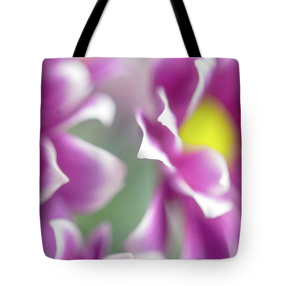 Jenny Rainbow Fine Art Photography Tote Bag featuring the photograph Joyful Sisters. Gentle Floral Macro by Jenny Rainbow