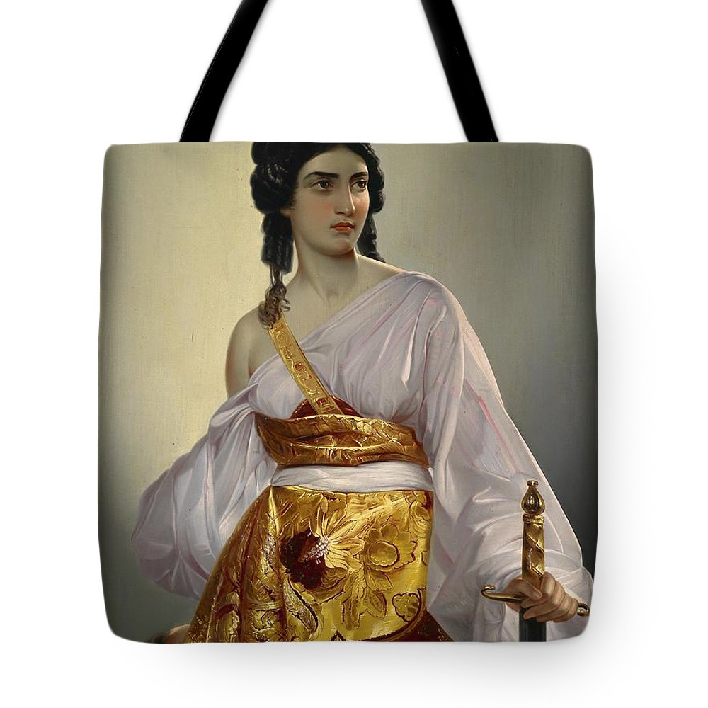 Mihael Stroj Tote Bag featuring the painting Judith With Thedecapitated Head Of Holofernes by Celestial Images