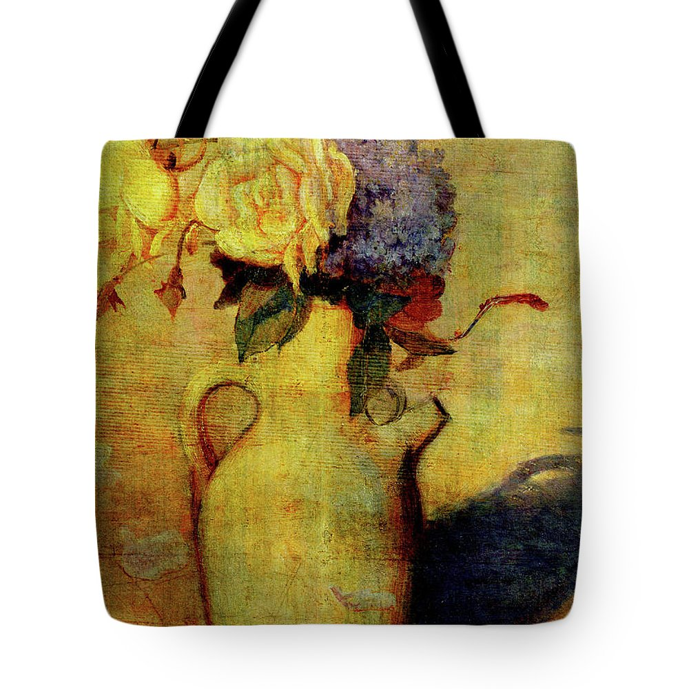 Flowers Tote Bag featuring the digital art Jug With Yellow And Violet Flowers by Sarah Vernon