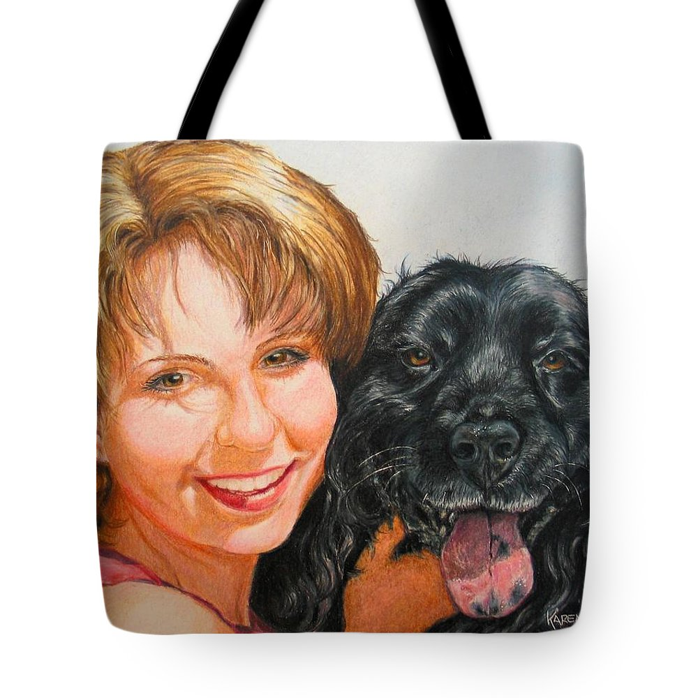 Girls Tote Bag featuring the drawing Juli And Sam by Karen Ilari