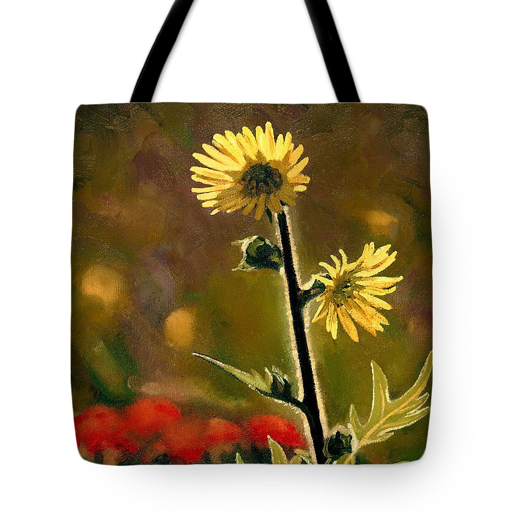 Prairie Flowers Tote Bag featuring the painting July Afternoon-Compass Plant by Bruce Morrison