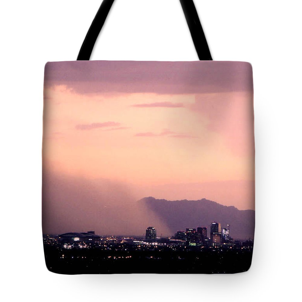 Arizona Tote Bag featuring the photograph July Dust by Cathy Franklin
