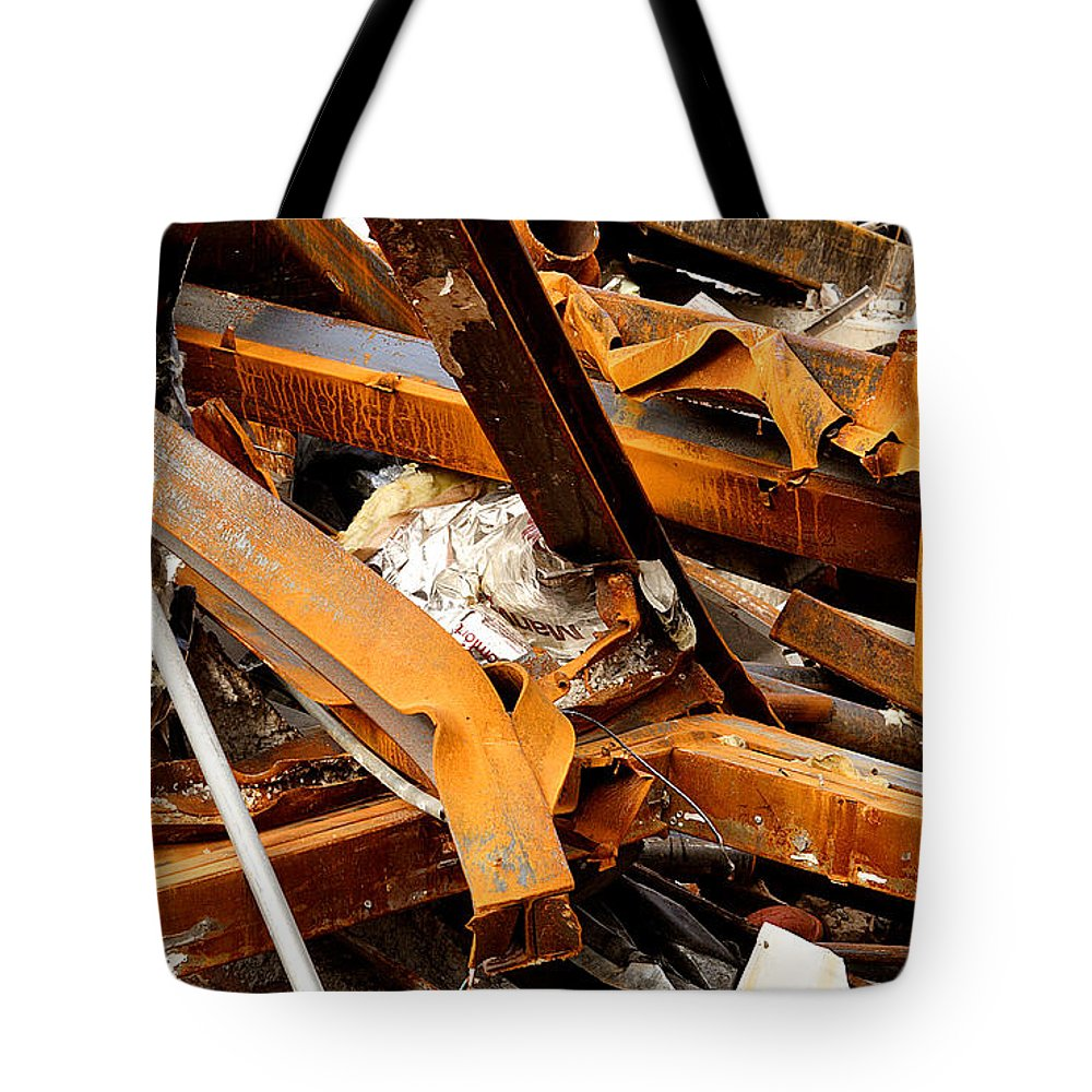 Steel Tote Bag featuring the photograph Jumbled Steel by Jean Macaluso