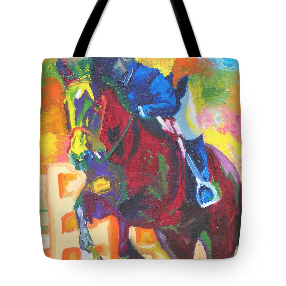 Horse Jumping Tote Bag featuring the painting Jump Off by Michael Lee