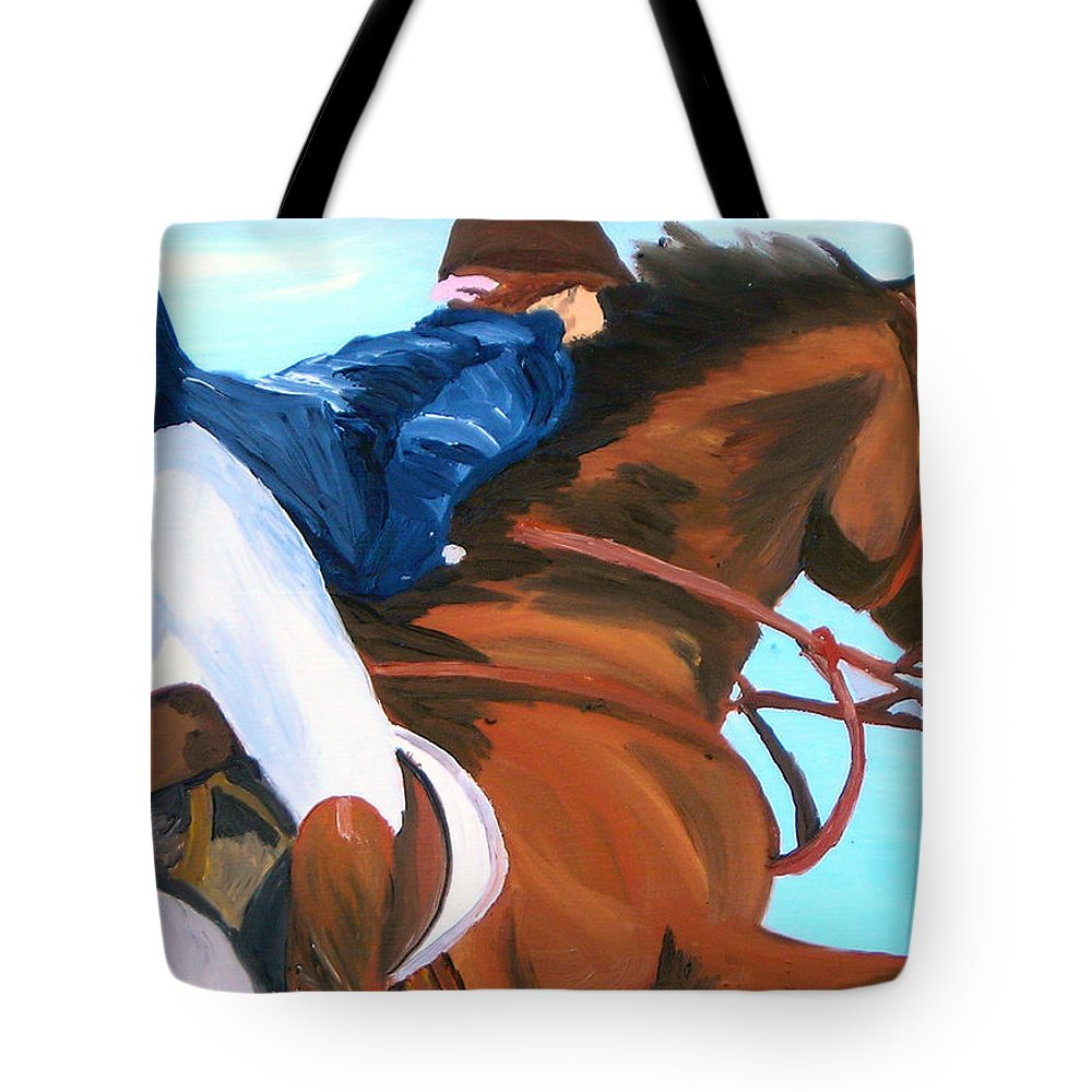 Horses Tote Bag featuring the painting Jumper by Michael Lee