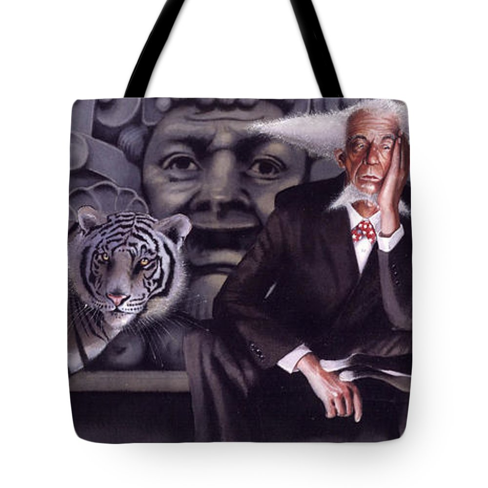 Tigers Tote Bag featuring the painting Jumping The Hoop by Denny Bond