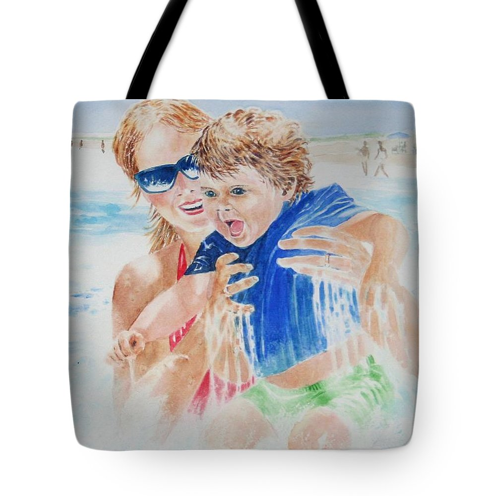 Seascapes Tote Bag featuring the painting Jumping The Shore Break by Tom Harris