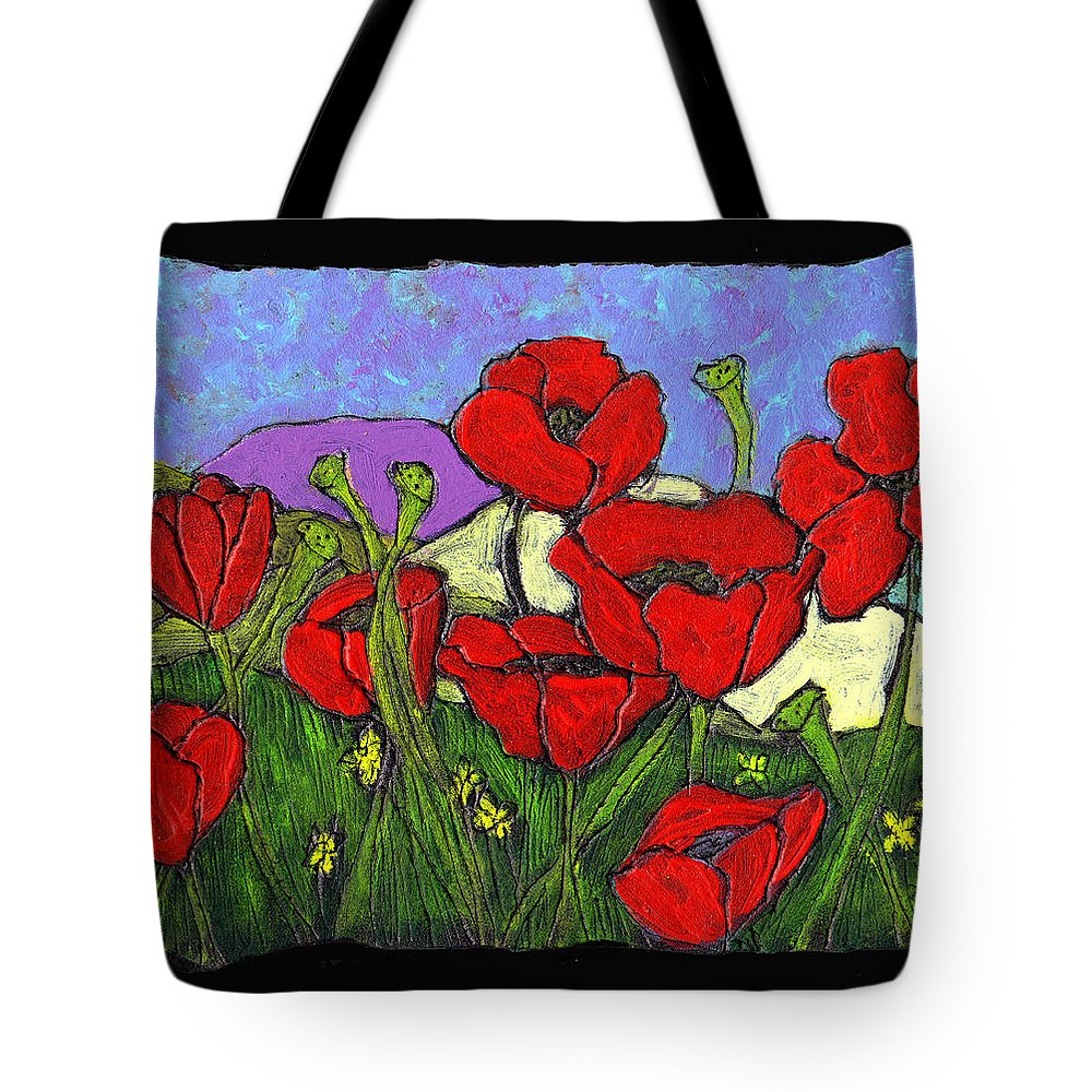 Poppies Tote Bag featuring the painting June Poppies by Wayne Potrafka