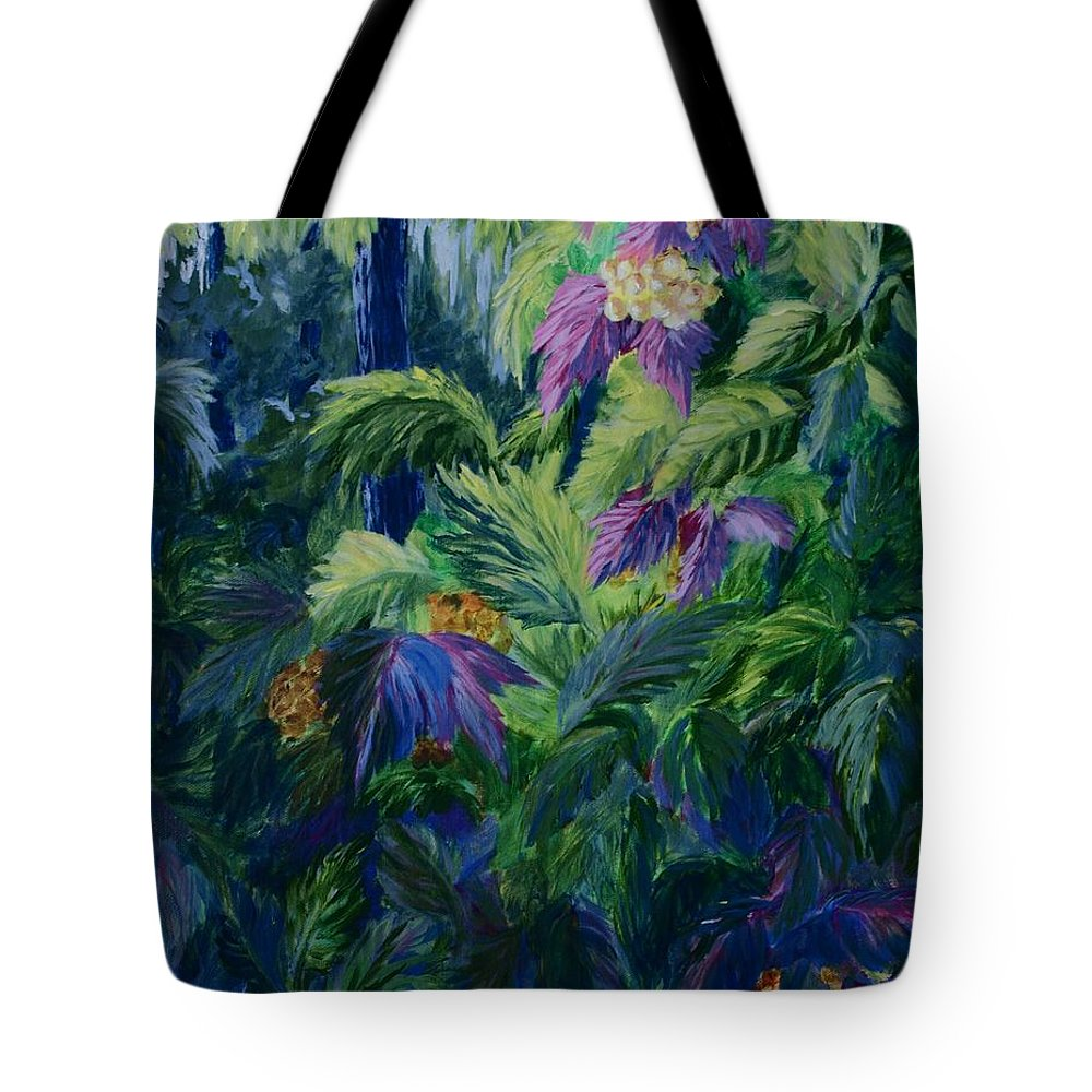 Jungle Tote Bag featuring the painting Jungle Delights by Joanne Smoley
