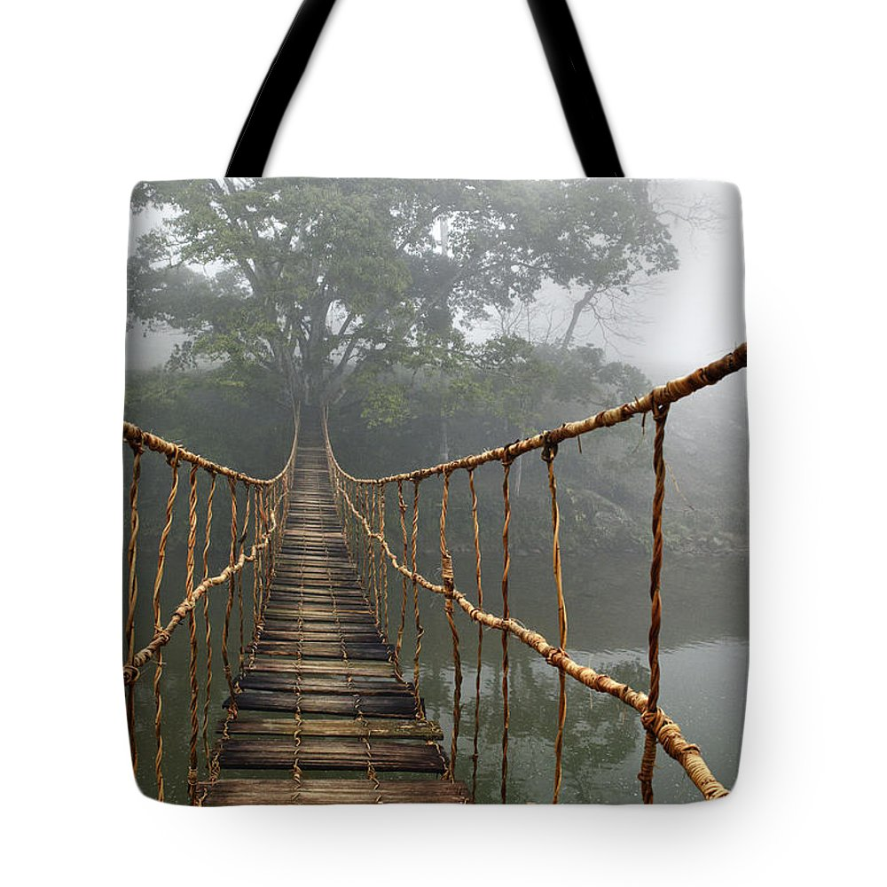 Rope Bridge Tote Bag featuring the photograph Jungle Journey 2 by Skip Nall