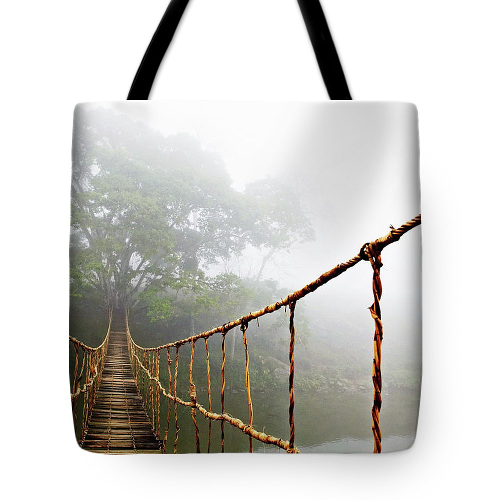 Rope Bridge Tote Bag featuring the photograph Jungle Journey by Skip Nall