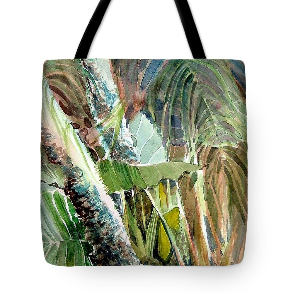 Palm Tree Tote Bag featuring the painting Jungle Light by Mindy Newman