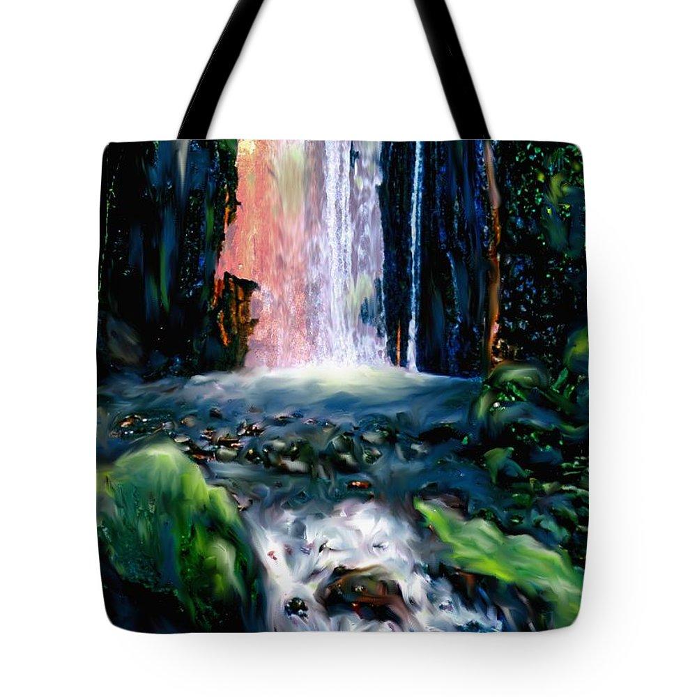 Pool Tote Bag featuring the digital art Jungle Pool by Ian MacDonald