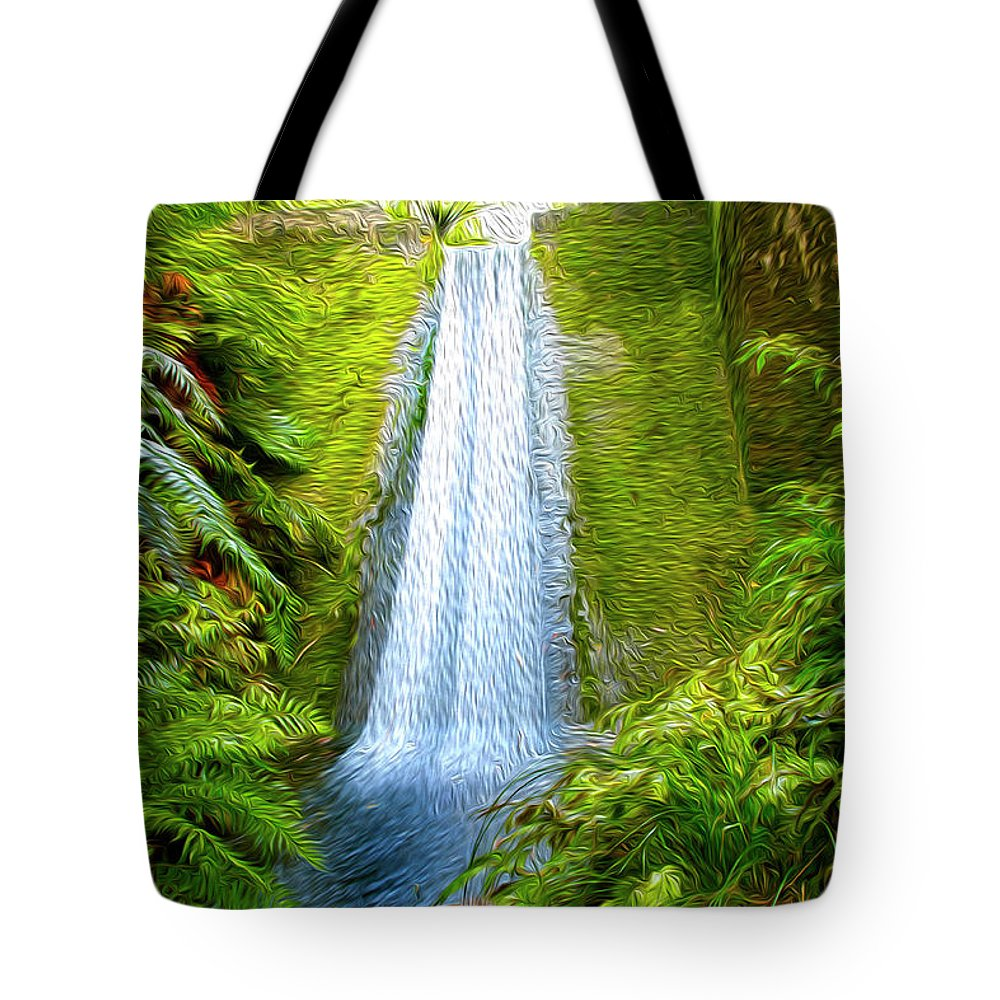 Outdoor Tote Bag featuring the digital art Jungle Waterfall by Les Cunliffe