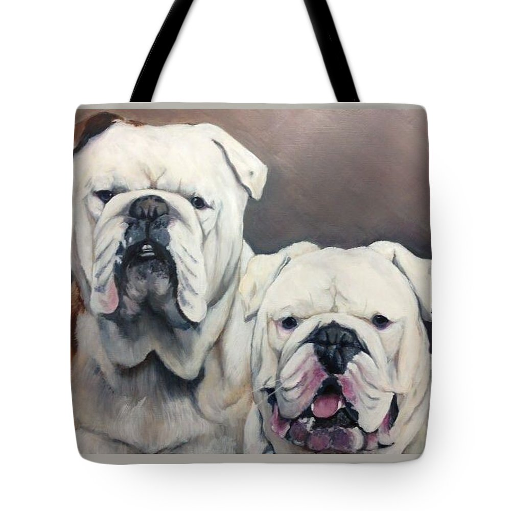 English Bulldogs Tote Bag featuring the painting English Bulldogs by FayBecca