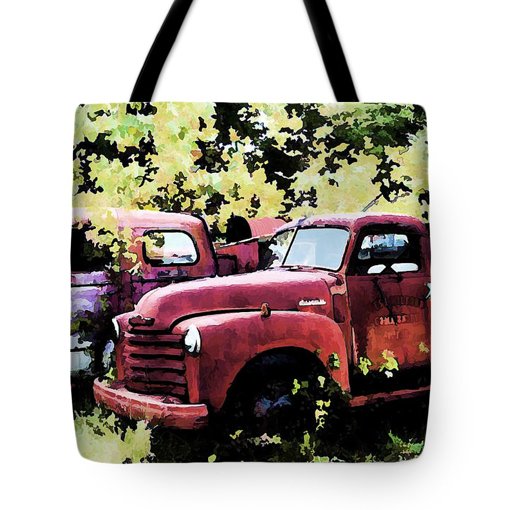 American La France Tote Bag featuring the digital art Junked Fire Engines by Tommy Anderson