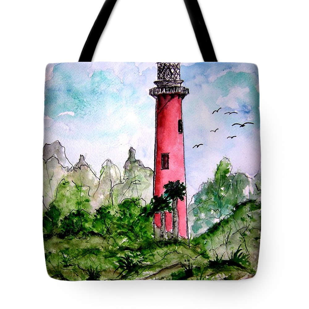 Lighthouse Tote Bag featuring the painting Jupiter Florida Lighthouse by Derek Mccrea